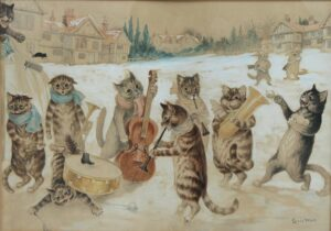 Canto de Natal_Louis Wain, aguarela e desenho