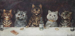 Louis Wain, The Bachelor Party, dates unknown, private collection. Wikimedia Commons.