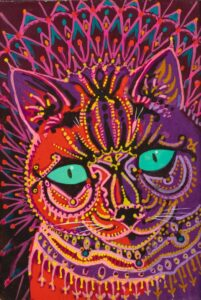 Louis Wain, Kaleidoscope cat, c.1930, private collection. Wikimedia Commons.